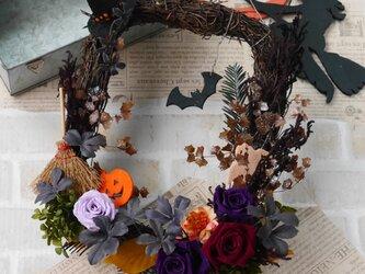 リース 夜の森のハロウィンの画像
