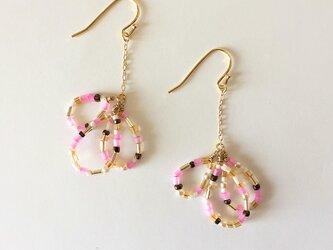 Vintage pink sheed beads pierce_PIC076の画像