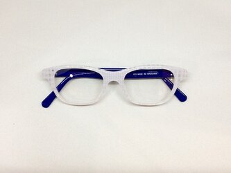 ホワイトブロックカラーの個性派メガネ(メガネフレーム)の画像