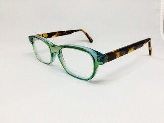 クリアグリーン&べっ甲カラーのカジュアルポップメガネ(メガネフレーム)の画像