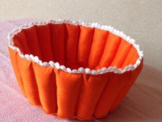 送料無料 オレンジ小物入れ 帯リメイクの画像