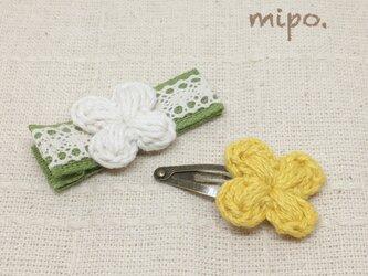 【2点セット】小花のベビークリップとパッチンどめ  コットン毛糸《受注制作》の画像
