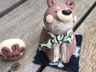 なんともかわいい茶柴犬のおきもの(小顔バージョン)の画像