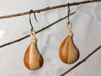 「ちっちゃめしずく型」寄木のピアス・イヤリング4(送料込)の画像