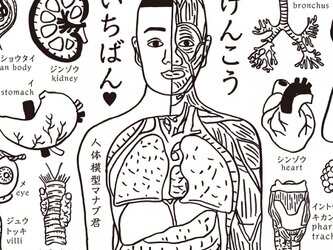 人体模型マナブくん手ぬぐいの画像