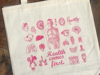 人体模型マナブくん マチ付きコットンバッグ ピンクの画像