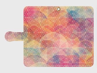 プリズム パターン 波紋 スマホケース xperia Galaxy 等多機種対応 手帳型スマホケースの画像