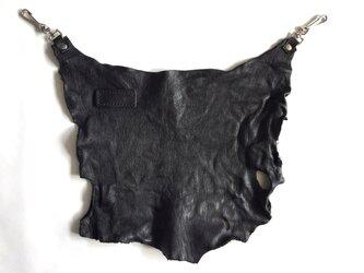 【一点限り】エゾシカ革バムフラップ ブラックの画像