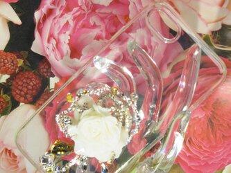 スワロフスキーで散りばめた薔薇★3Dデコ iphone7plus スマホケースの画像