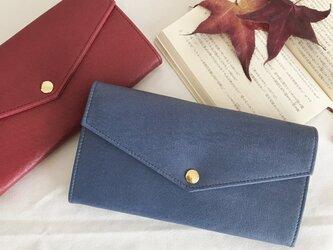 渋い青色の長財布の画像