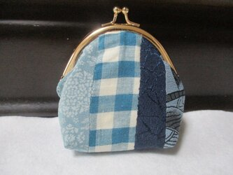 着物生地のがま口財布(青紺)の画像