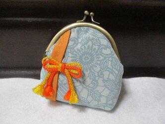 着物生地のがま口財布(橙帯)の画像