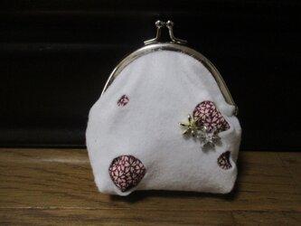 着物生地のがま口財布(雪花)の画像