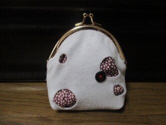 着物生地のがま口財布(黒丸)の画像