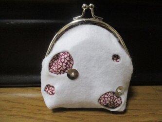 着物生地のがま口財布(銀丸)の画像