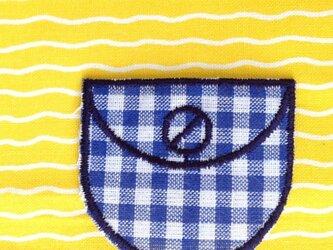 ポケットアップリケワッペン-ギンガム ブルーa 001の画像