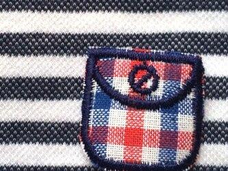 ドイツ ポケットアップリケワッペン-ギンガムミニ 赤青 992の画像