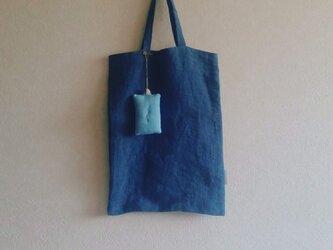 縦長bag + ピンクッション  青緑&紫 リバーシブルの画像