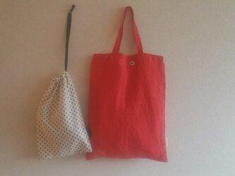 縦長bag + 水玉巾着  の画像
