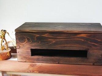 ケーブルボックス (コード、タップ収納)ダークブラウンの画像