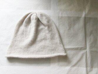1点物 カシミア100%の縮絨ニットキャップ シルバーグレーの画像