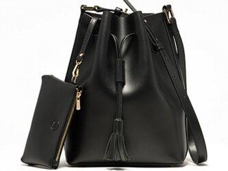 本牛革 レザー ショルダーバッグ Bucket Bag BLACK【受注製作】の画像