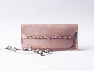 高級本牛革 レザー 長財布 Light Pink 印字可能【受注製作】の画像