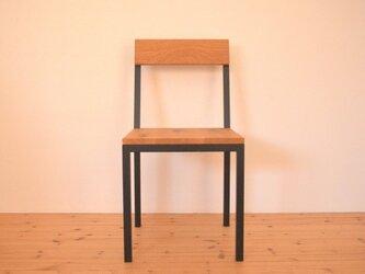 ※受注製作※総無垢ホワイトオーク× 鉄脚・アイアン椅子(チェア)※(マットブラック焼き付け塗装)の画像
