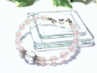 【melissa luce 天然石 パワーストーン ブレスレット】ピンクカラーカルセドニーの画像