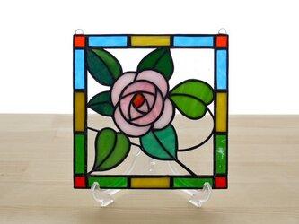 ステンドグラス ミニパネル ローズ 15cmの画像