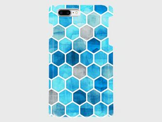 ハニカム ウォーターカラー(blue)iphone 6sPlus/7plus/8plus 大サイズiphone専用ハードケース の画像