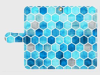 ハニカム ウォーターカラー(blue)Galaxy8 等 大サイズスマホ専用 手帳型の画像