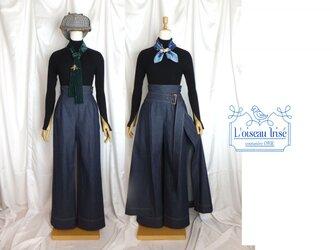 ハイウェストワイドパンツ×オーバースカートの画像