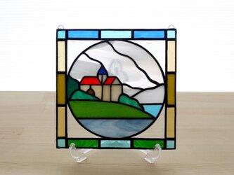ステンドグラス ミニパネル 海の見える丘 15cmの画像