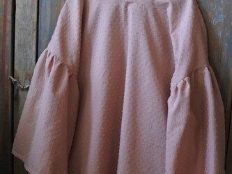クリックポスト送料込ドット刺繍フリル袖ブラウスピンクベージュの画像