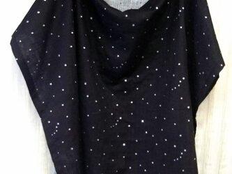 おくるみに使える授乳ケープWガーゼ  黒&星シルバー 綿100%の画像