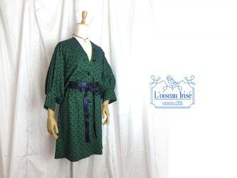 刺繍ニット ドルマンワンピース グリーンの画像