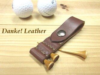 ゴルフティーホルダー(チョコ)ステッチカラー(糸色)と金具の選択可!の画像