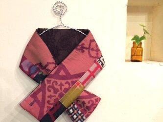 銘仙×コード刺繍の小さな襟巻き171 ストール ネックウォーマー プチマフラーの画像