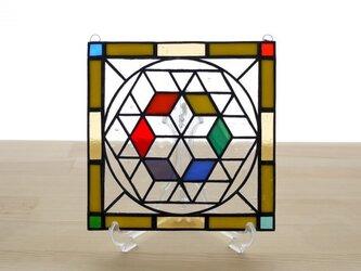 ステンドグラス ミニパネル 幾何学模様 15cmの画像