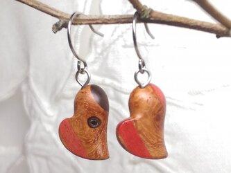「ちっちゃなハート型」寄木のピアス・イヤリング1(送料込)の画像