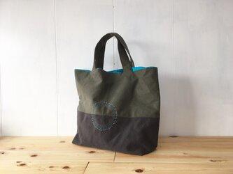【受注製作】くったり秋色鞄 中は青空色の画像