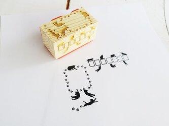 猫ちゃん郵便番号枠・切手枠はんこ2面セットの画像