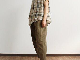 ゆったり素朴なひざ立体パンツ(ブラウン)の画像