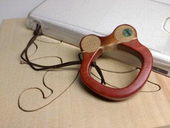 「ケロケロカエルさん」ピンクアイボリーのスマホ用リングストラップ(送料込)の画像
