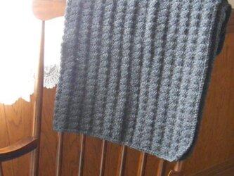 ウールのひざ掛け チャコールグレーの画像