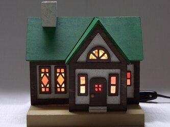 木とステンドグラス家のランプ★nh1★緑の屋根②の画像