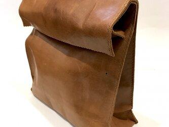 アンティーク紙袋風★クラッチバッグ【キャメル】の画像