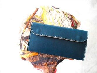 【受注生産品】フラップ長財布 ~栃木アニリン青×栃木サドル~の画像