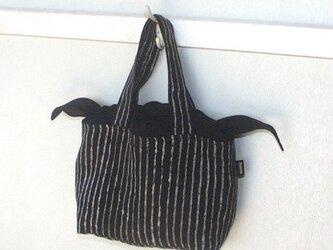 リネンミニバッグ・縞(黒系色)の画像